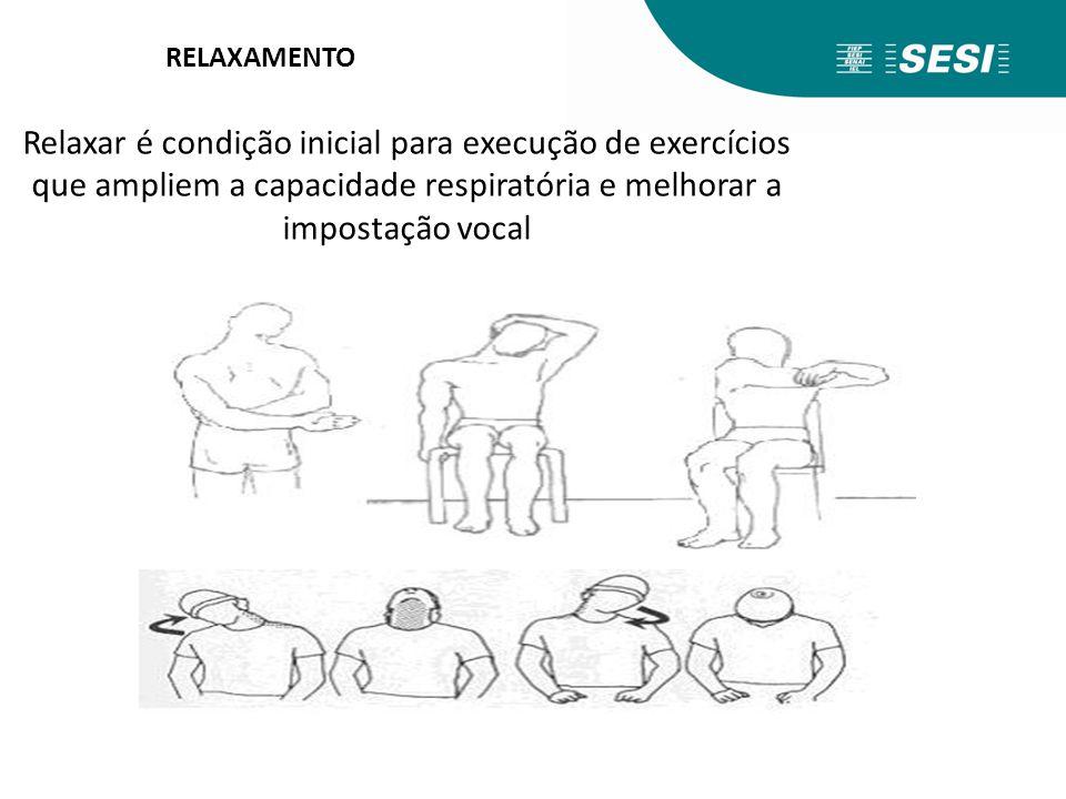 RELAXAMENTO Relaxar é condição inicial para execução de exercícios que ampliem a capacidade respiratória e melhorar a impostação vocal.