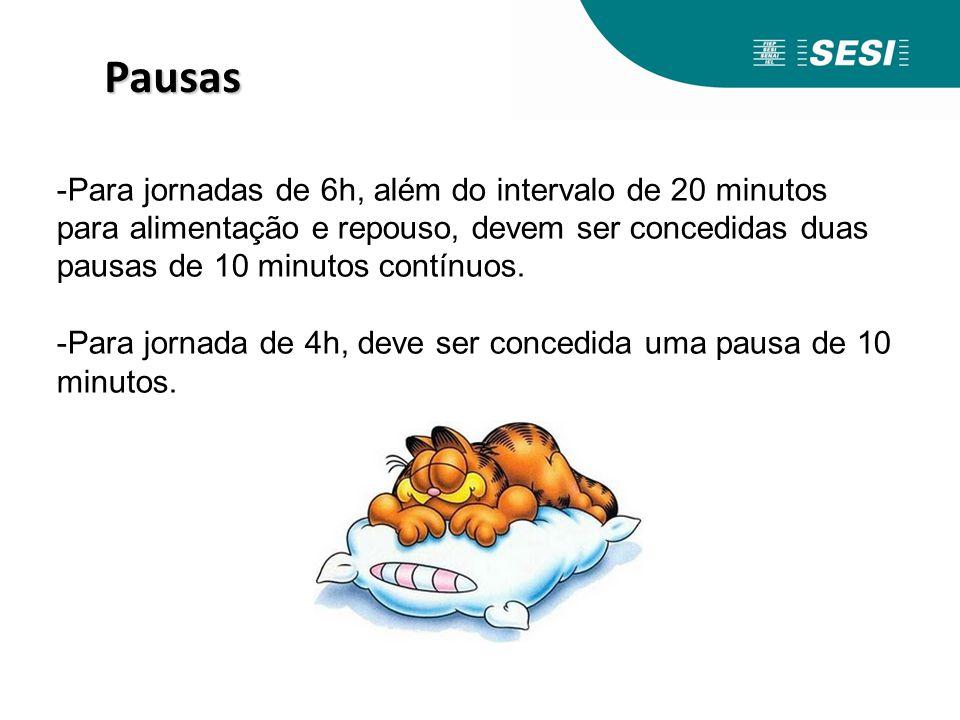 Pausas Para jornadas de 6h, além do intervalo de 20 minutos para alimentação e repouso, devem ser concedidas duas pausas de 10 minutos contínuos.
