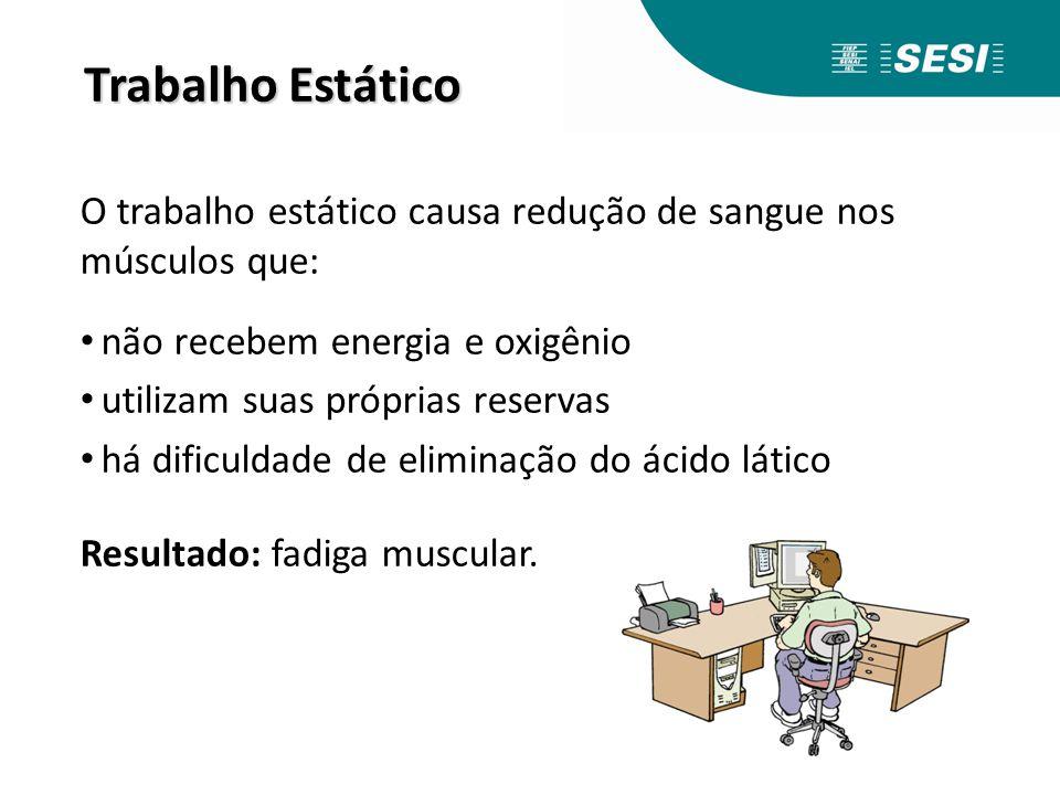 Trabalho Estático O trabalho estático causa redução de sangue nos