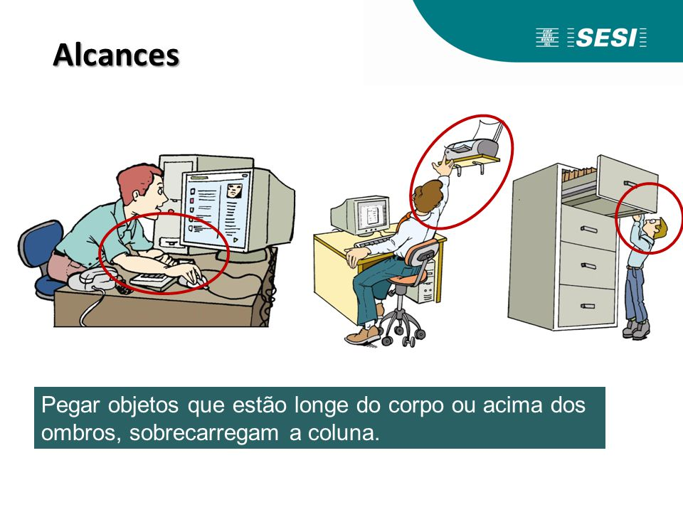 Alcances Pegar objetos que estão longe do corpo ou acima dos