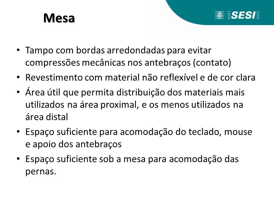 Mesa Tampo com bordas arredondadas para evitar compressões mecânicas nos antebraços (contato)