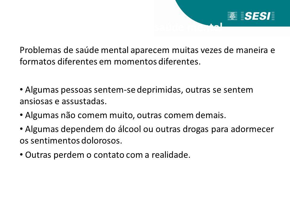 Tipos de problemas de saúde mental