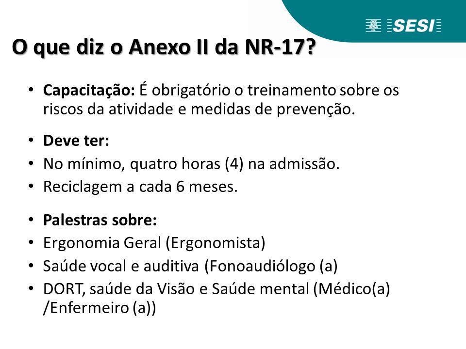 O que diz o Anexo II da NR-17