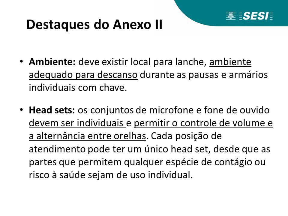 Destaques do Anexo II Ambiente: deve existir local para lanche, ambiente adequado para descanso durante as pausas e armários individuais com chave.