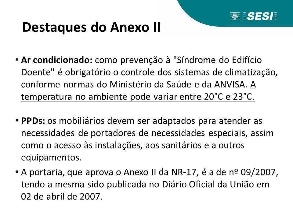 Destaques do Anexo II