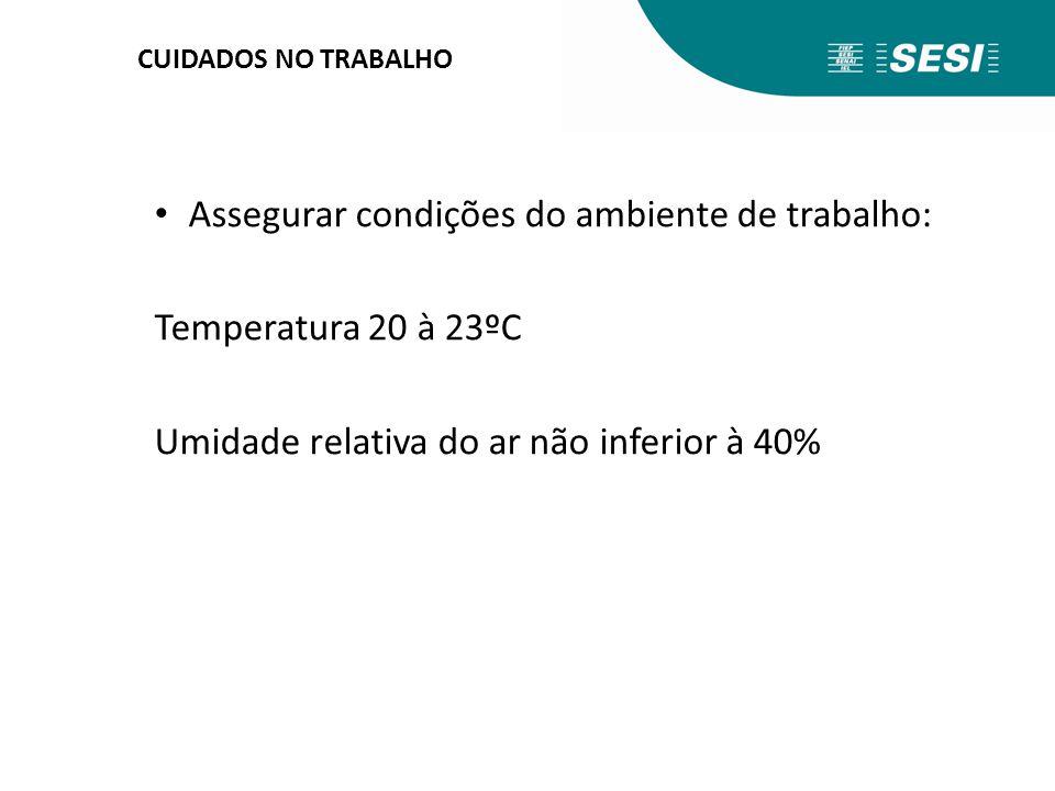 Assegurar condições do ambiente de trabalho: Temperatura 20 à 23ºC