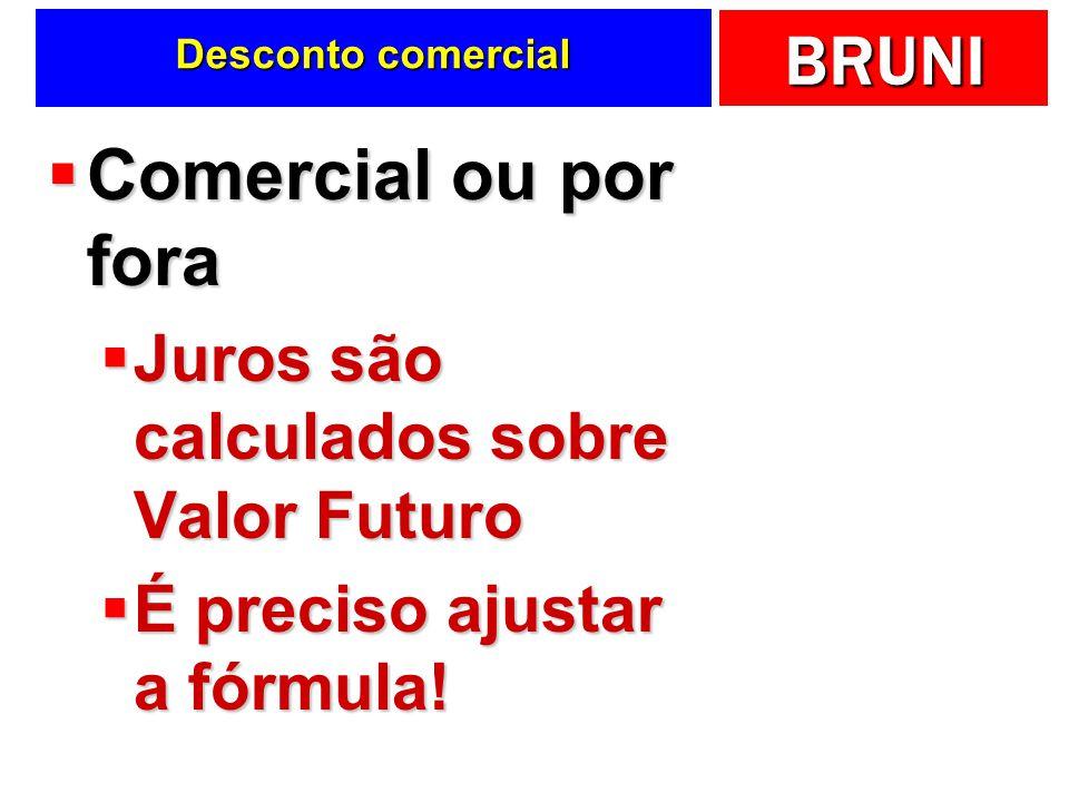 Comercial ou por fora Juros são calculados sobre Valor Futuro