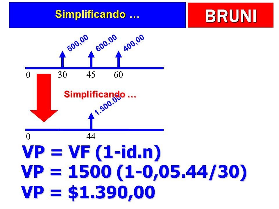 VP = VF (1-id.n) VP = 1500 (1-0,05.44/30) VP = $1.390,00