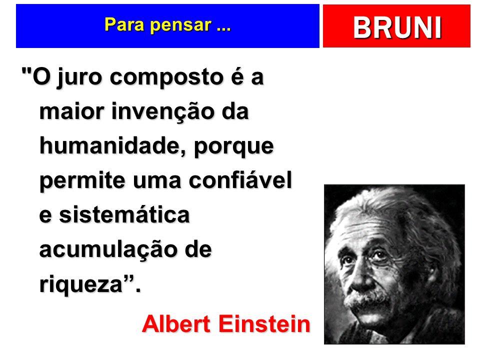 Para pensar ... O juro composto é a maior invenção da humanidade, porque permite uma confiável e sistemática acumulação de riqueza .