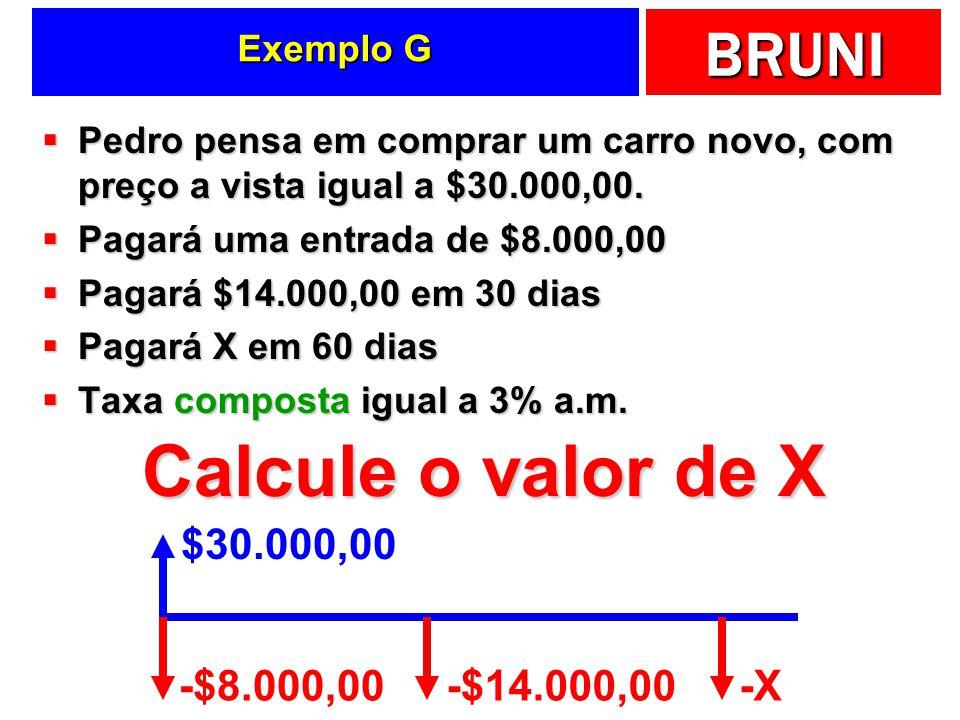 Calcule o valor de X $30.000,00 -$8.000,00 -$14.000,00 -X Exemplo G