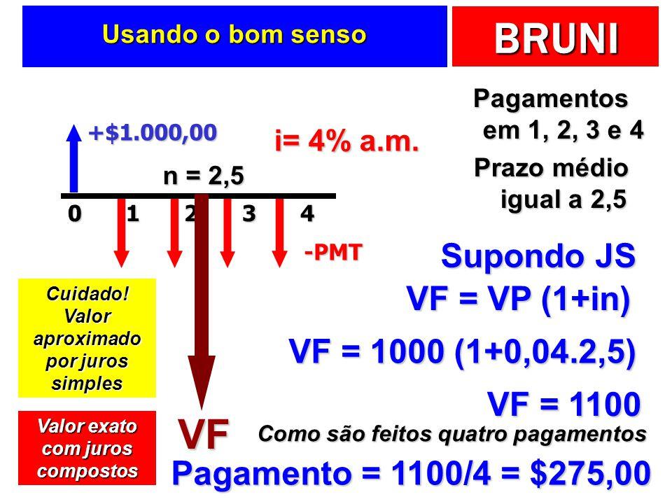Valor aproximado por juros simples Valor exato com juros compostos