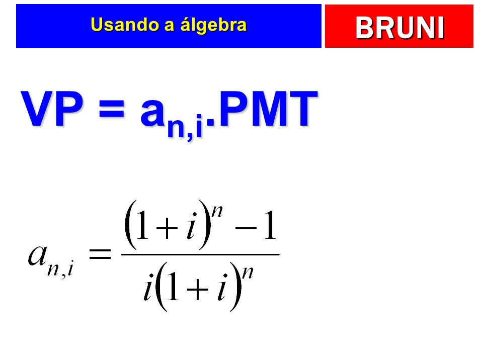 Usando a álgebra VP = an,i.PMT