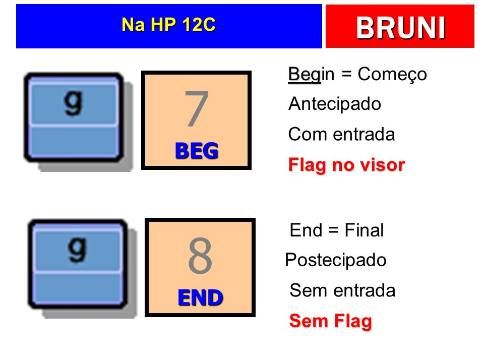 7 8 BEG END Na HP 12C Begin = Começo Antecipado Com entrada