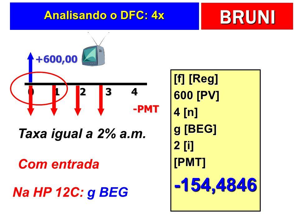 -154,4846 Taxa igual a 2% a.m. Com entrada Na HP 12C: g BEG