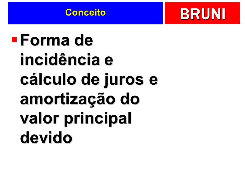 Conceito Forma de incidência e cálculo de juros e amortização do valor principal devido