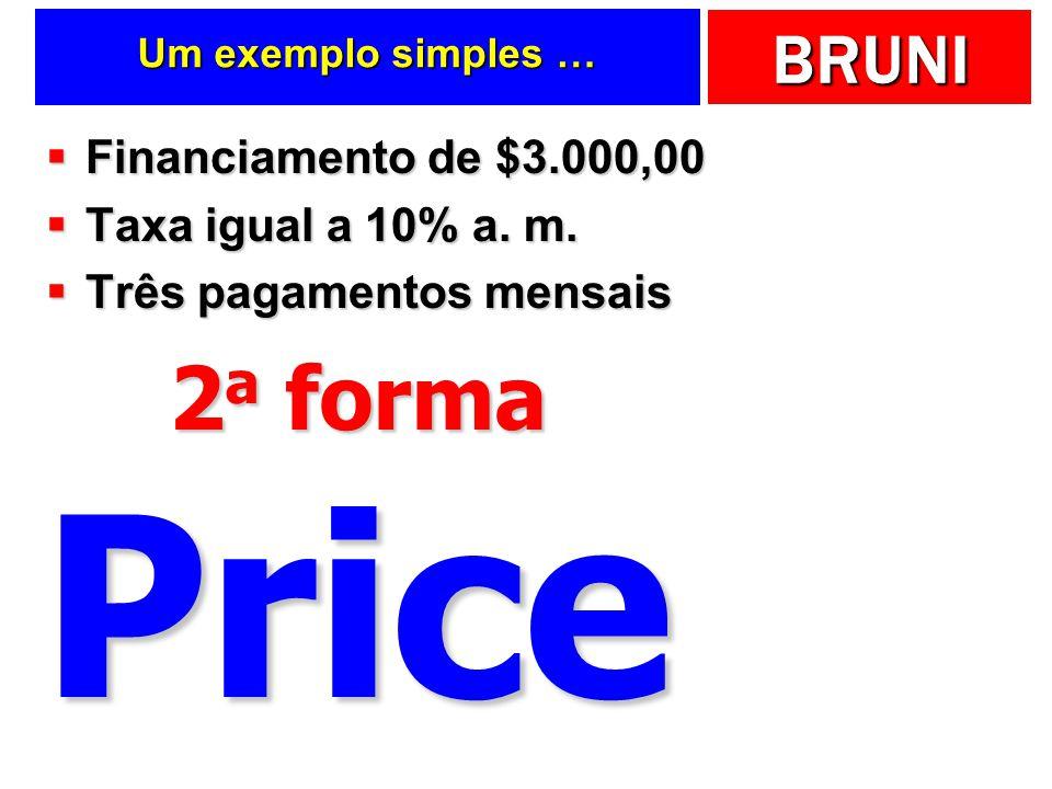 Price 2a forma Financiamento de $3.000,00 Taxa igual a 10% a. m.