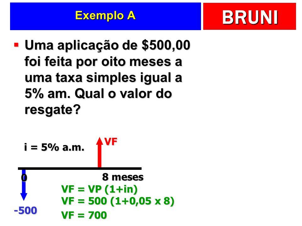 Exemplo A Uma aplicação de $500,00 foi feita por oito meses a uma taxa simples igual a 5% am. Qual o valor do resgate