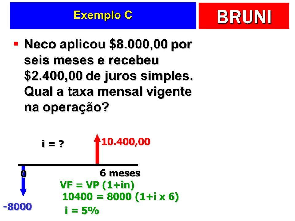 Exemplo C Neco aplicou $8.000,00 por seis meses e recebeu $2.400,00 de juros simples. Qual a taxa mensal vigente na operação
