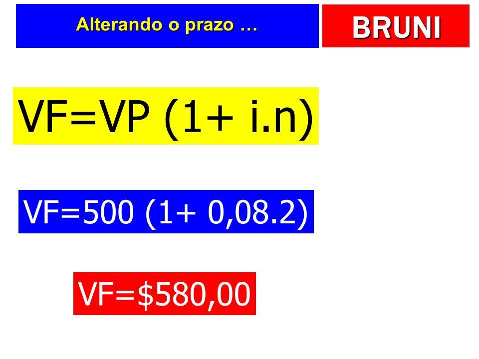 Alterando o prazo … VF=VP (1+ i.n) VF=500 (1+ 0,08.2) VF=$580,00