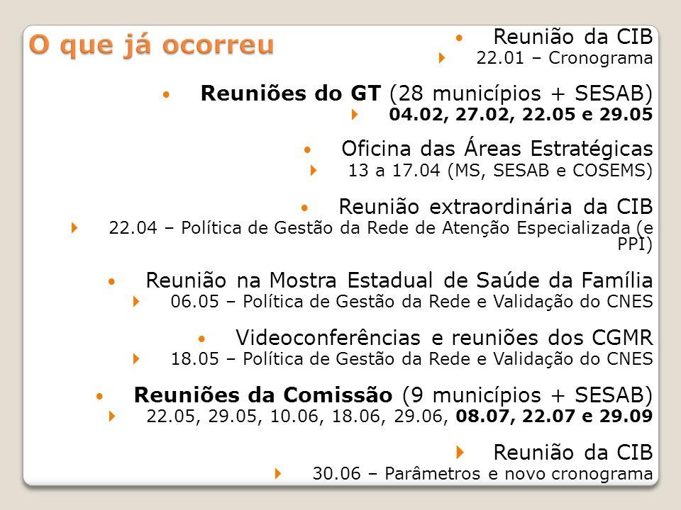 O que já ocorreu Reunião da CIB Reuniões do GT (28 municípios + SESAB)