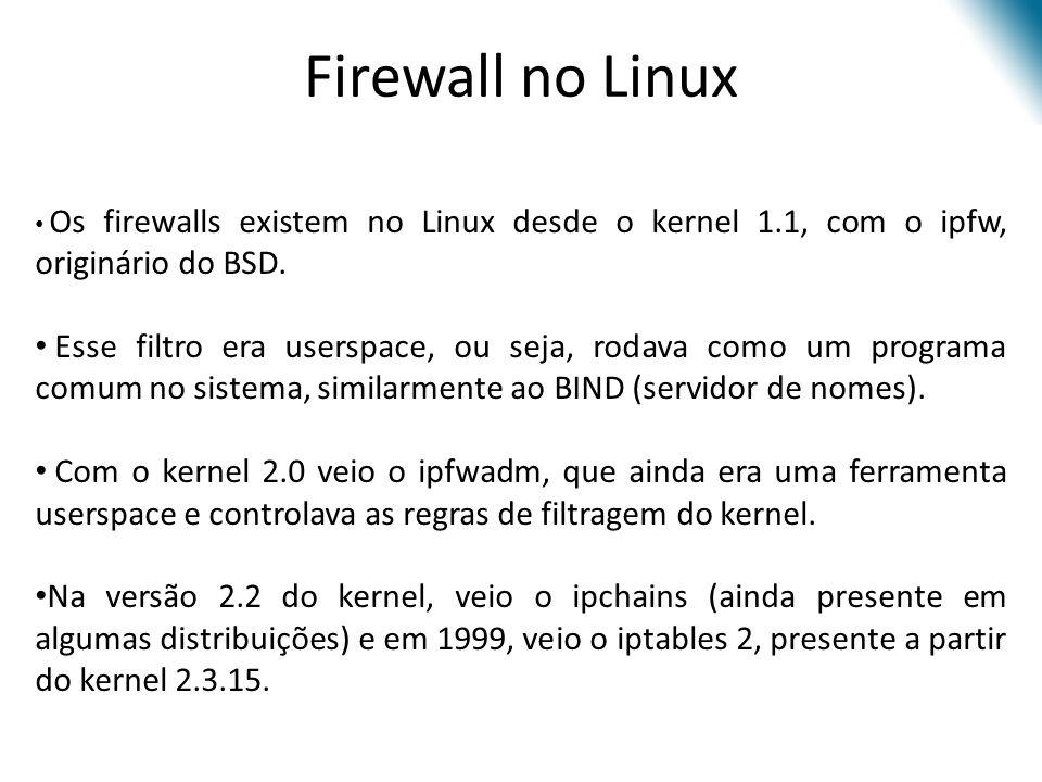 Firewall no Linux Os firewalls existem no Linux desde o kernel 1.1, com o ipfw, originário do BSD.