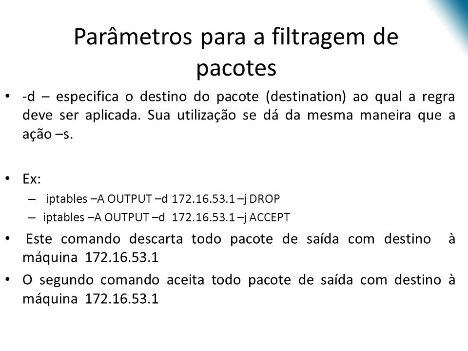 Parâmetros para a filtragem de pacotes