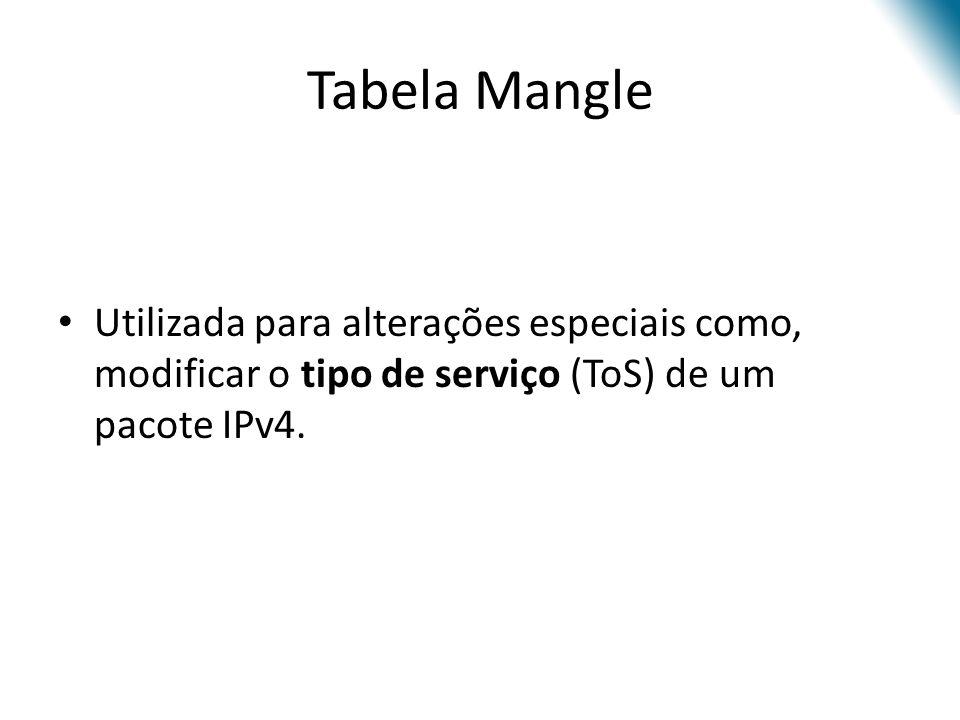 Tabela Mangle Utilizada para alterações especiais como, modificar o tipo de serviço (ToS) de um pacote IPv4.