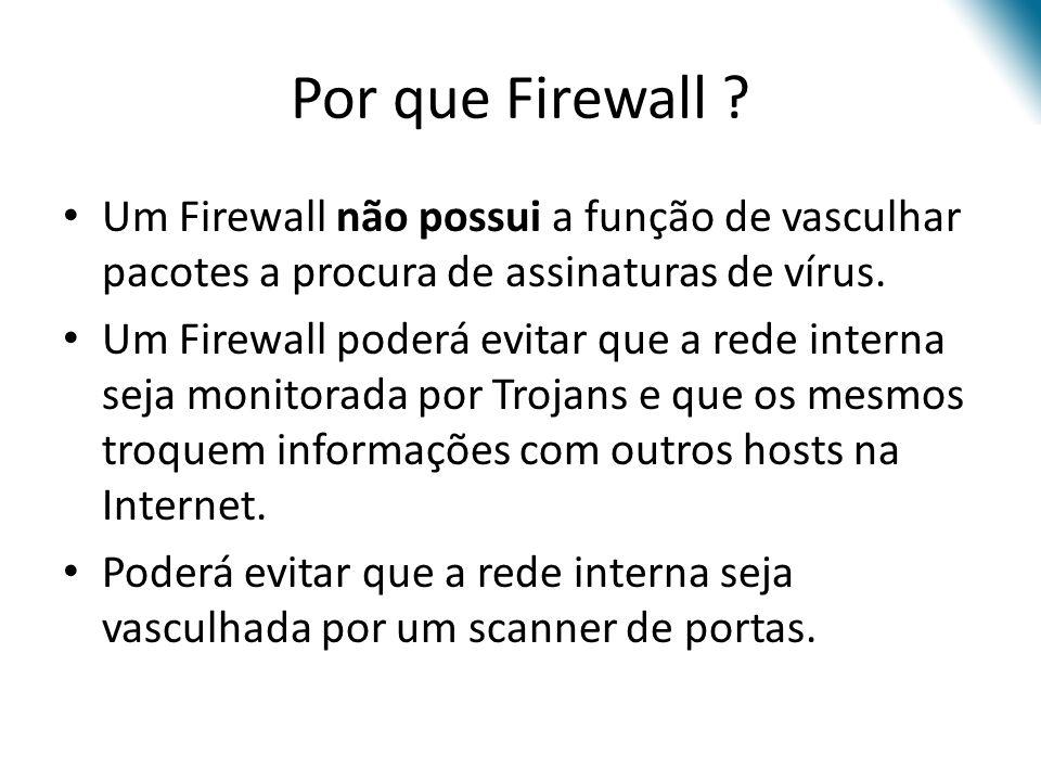 Por que Firewall Um Firewall não possui a função de vasculhar pacotes a procura de assinaturas de vírus.
