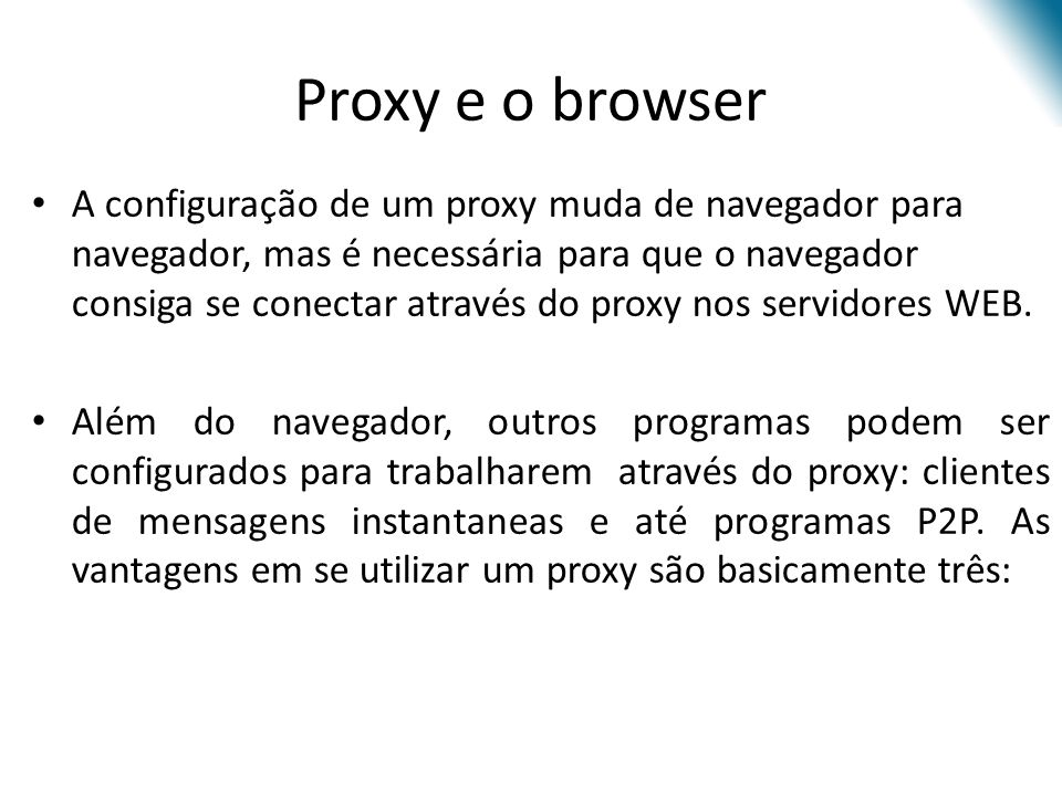 Proxy e o browser
