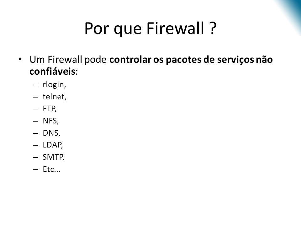 Por que Firewall Um Firewall pode controlar os pacotes de serviços não confiáveis: rlogin, telnet,
