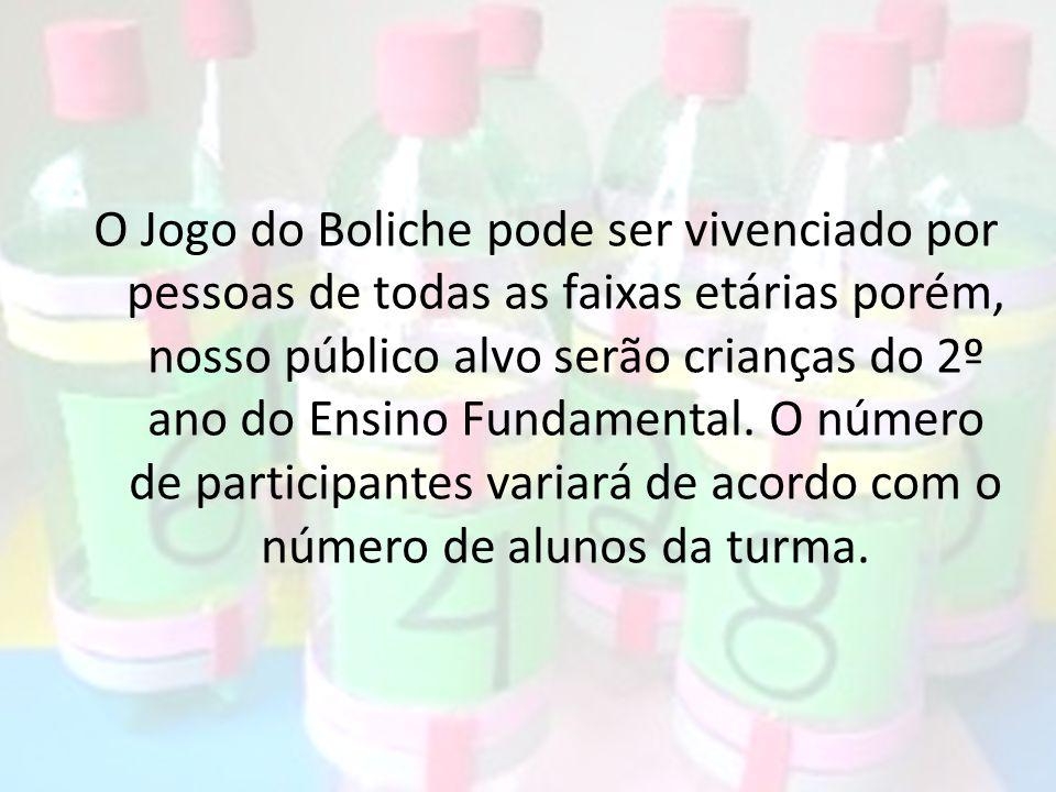 O Jogo do Boliche pode ser vivenciado por pessoas de todas as faixas etárias porém, nosso público alvo serão crianças do 2º ano do Ensino Fundamental.