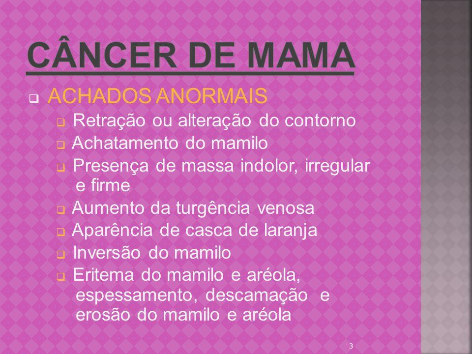 Câncer de mama Retração ou alteração do contorno Achatamento do mamilo