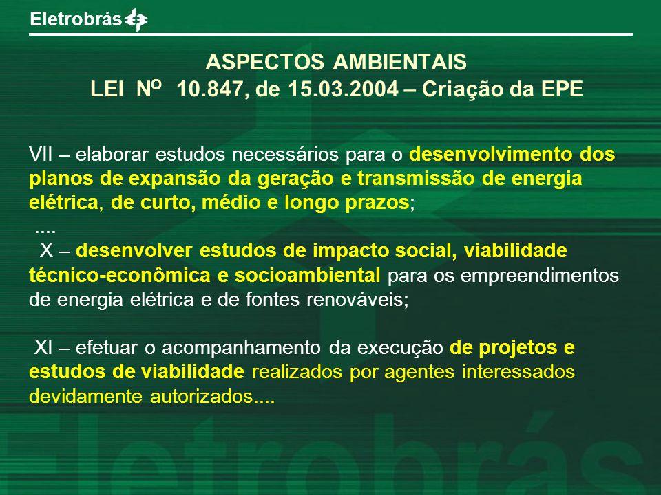 ASPECTOS AMBIENTAIS LEI NO 10.847, de 15.03.2004 – Criação da EPE