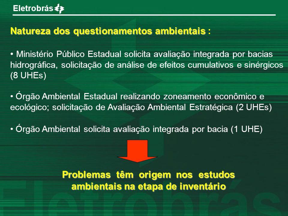 Problemas têm origem nos estudos ambientais na etapa de inventário