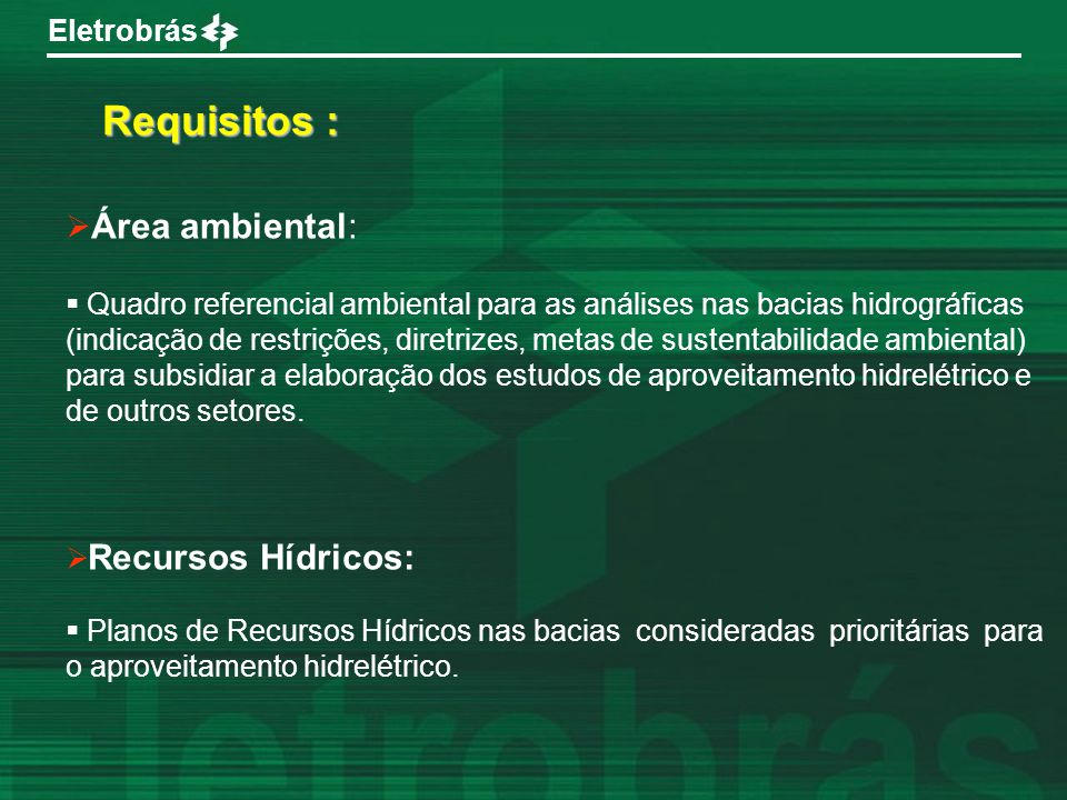 Requisitos : Área ambiental: