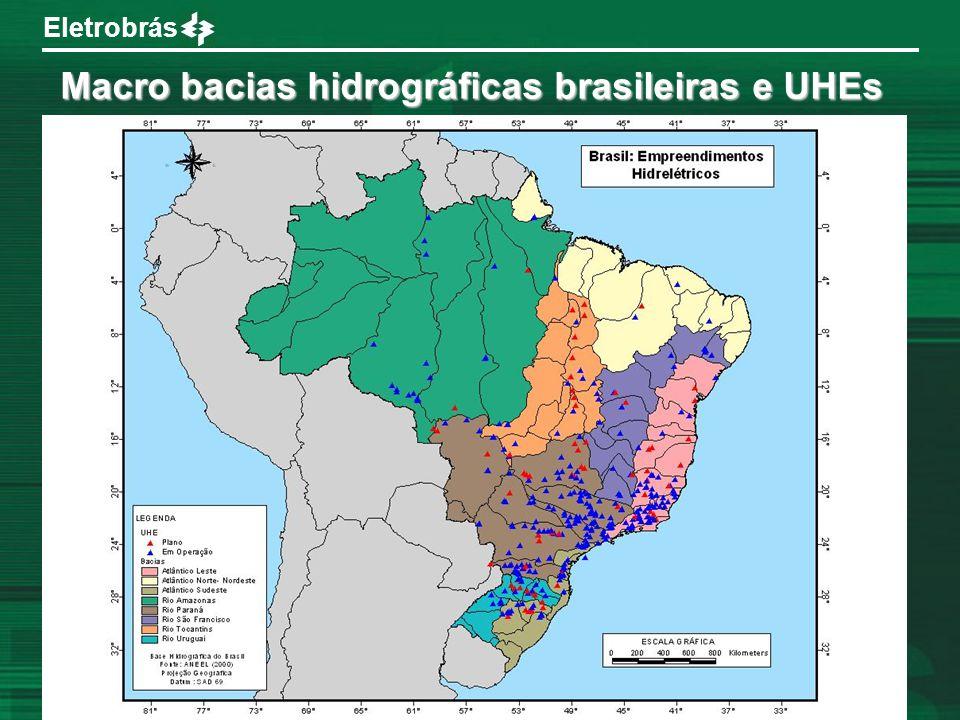 Macro bacias hidrográficas brasileiras e UHEs