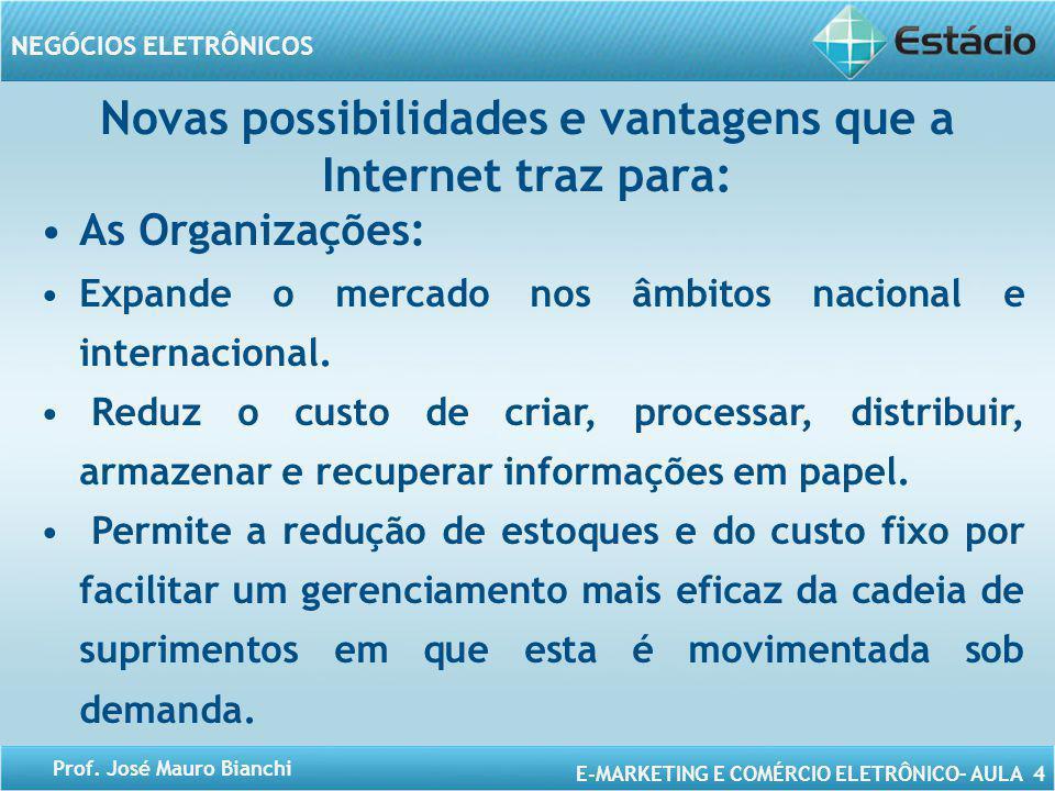 Novas possibilidades e vantagens que a Internet traz para:
