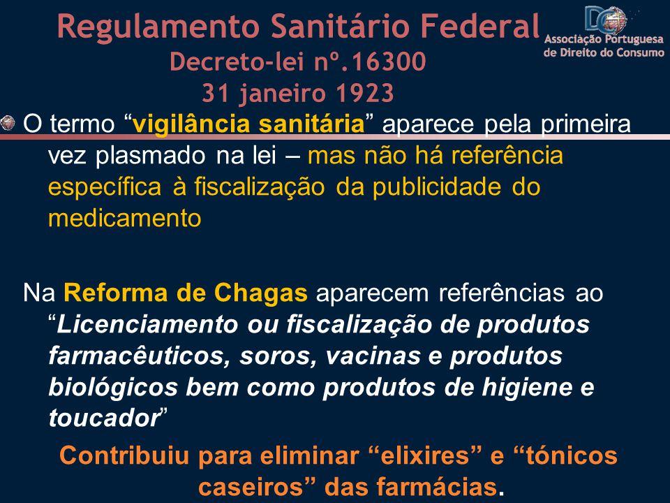 Regulamento Sanitário Federal Decreto-lei nº.16300 31 janeiro 1923