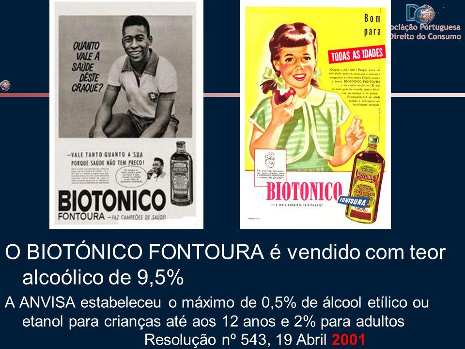 O BIOTÓNICO FONTOURA é vendido com teor alcoólico de 9,5%