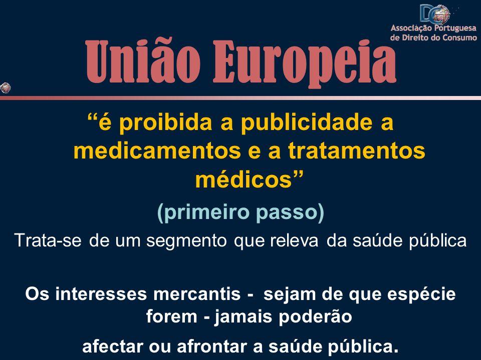 União Europeia é proibida a publicidade a medicamentos e a tratamentos médicos (primeiro passo)