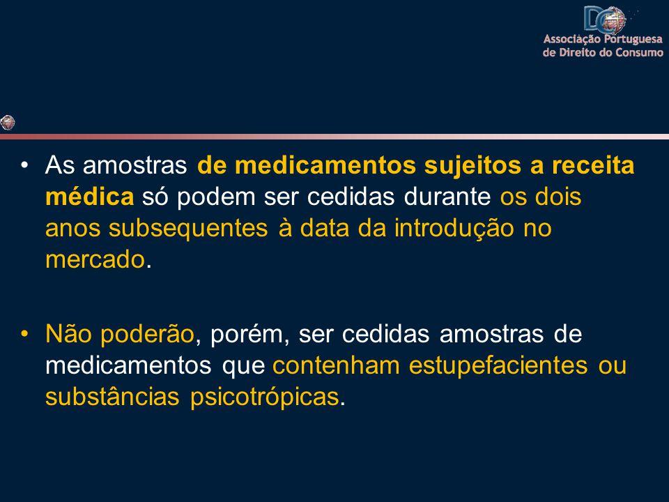 As amostras de medicamentos sujeitos a receita médica só podem ser cedidas durante os dois anos subsequentes à data da introdução no mercado.