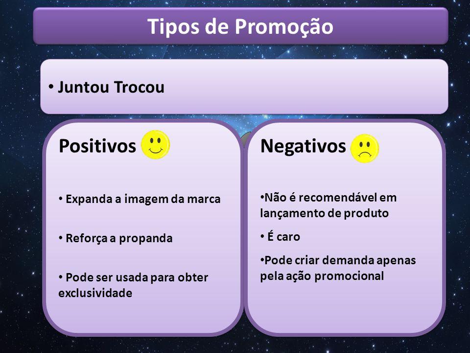 Tipos de Promoção Positivos Negativos Juntou Trocou