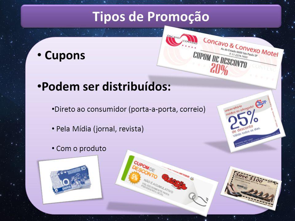 Tipos de Promoção Cupons Podem ser distribuídos: