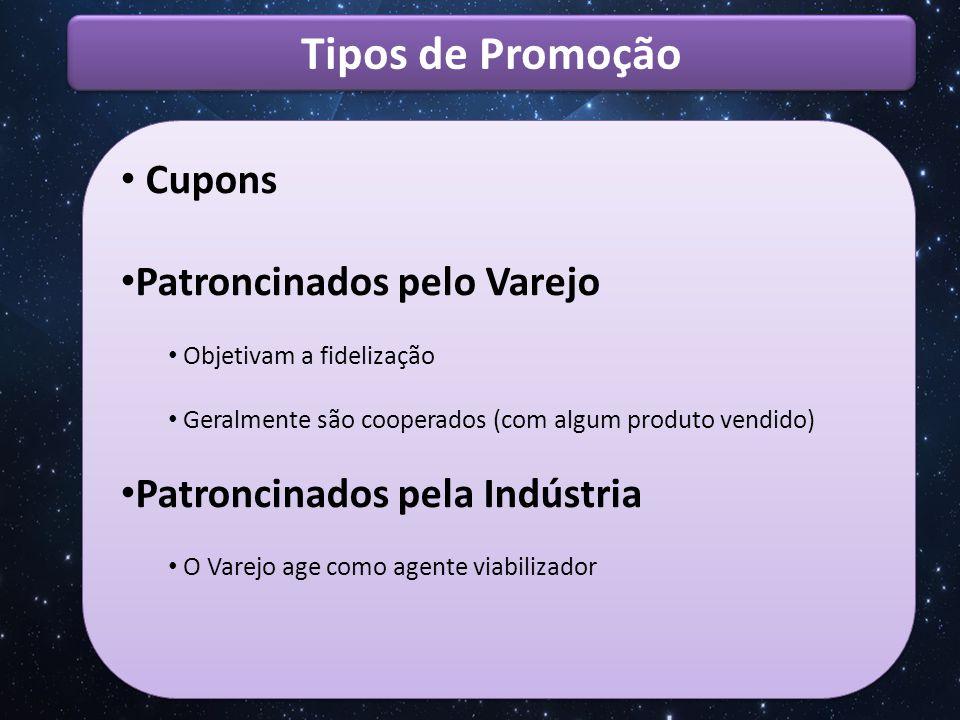 Tipos de Promoção Cupons Patroncinados pelo Varejo