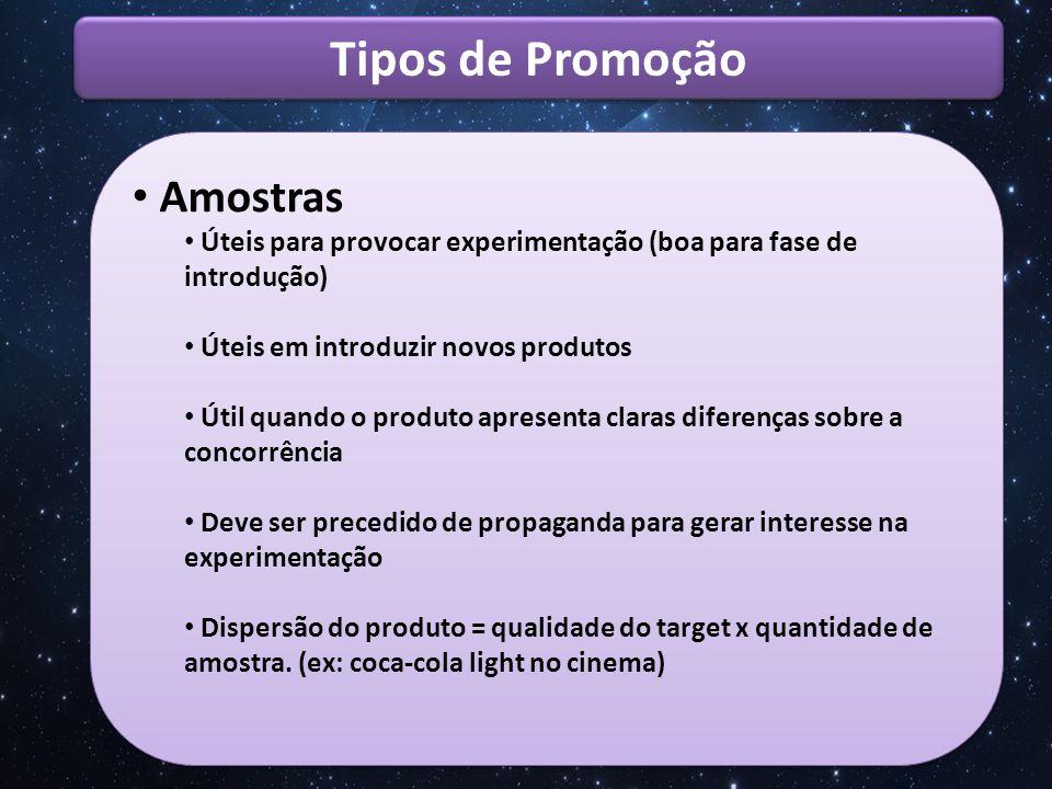 Tipos de Promoção Amostras