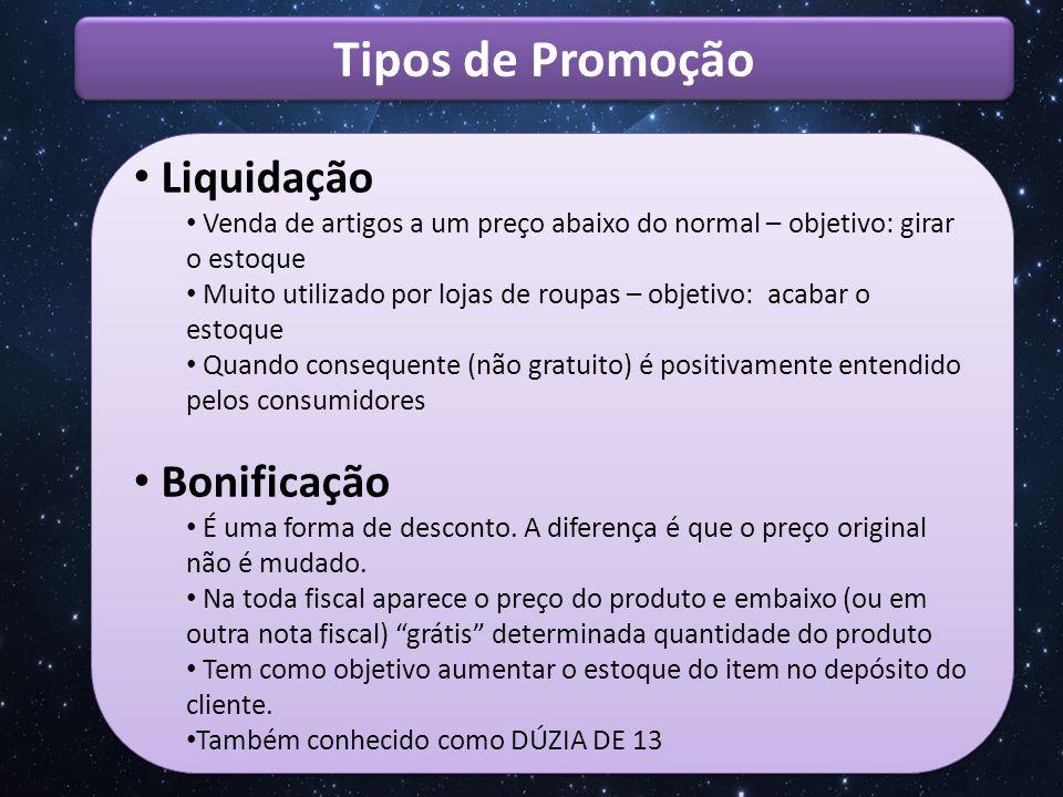 Tipos de Promoção Liquidação Bonificação