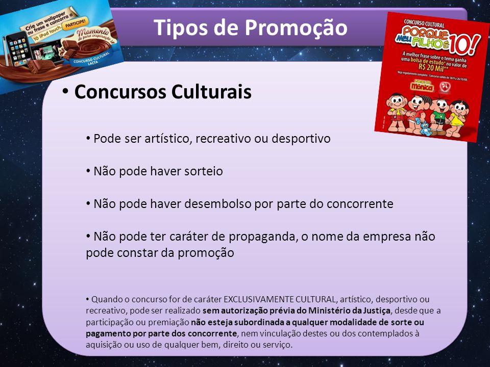 Tipos de Promoção Concursos Culturais