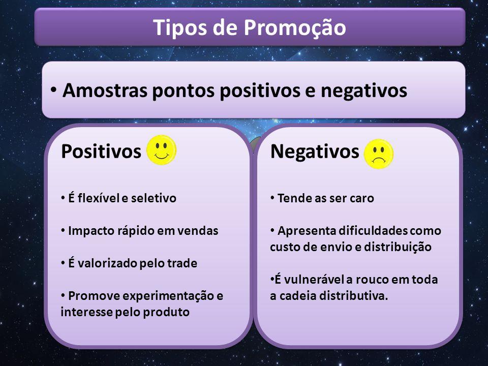 Tipos de Promoção Amostras pontos positivos e negativos Positivos