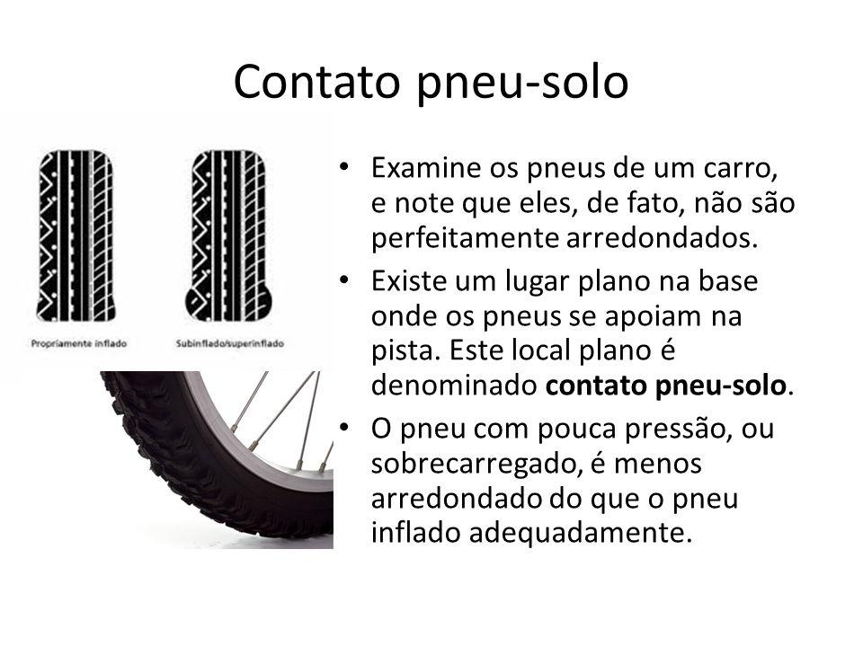 Contato pneu-solo Examine os pneus de um carro, e note que eles, de fato, não são perfeitamente arredondados.