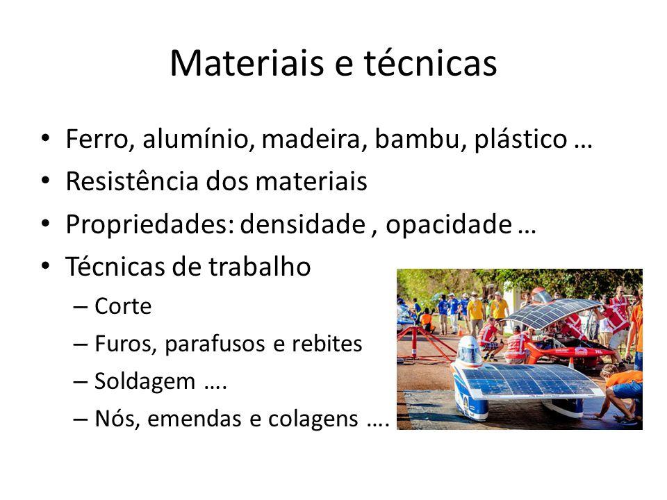 Materiais e técnicas Ferro, alumínio, madeira, bambu, plástico …